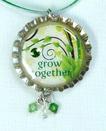 "GREEN ""GROW TOGETHER"" BOTTLE CAP NECKLACE w/ RIBBON"