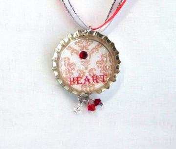 "RED ""HEART"" BOTTLE CAP NECKLACE W/ RIBBON"