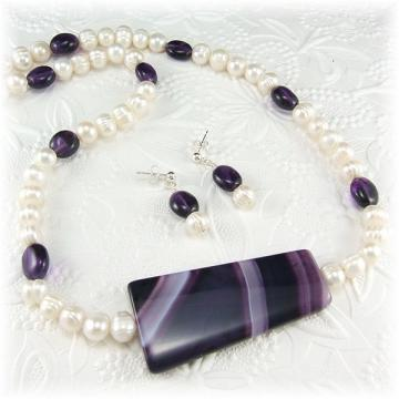 Purple Agate, Amethyst and Pearl Jewelry Set