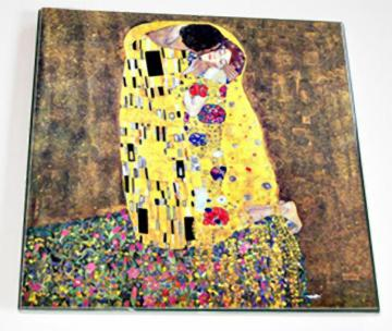 Ceramic Tile 6 inch square - Art Nouveau - The Kiss by Gustav Klimt