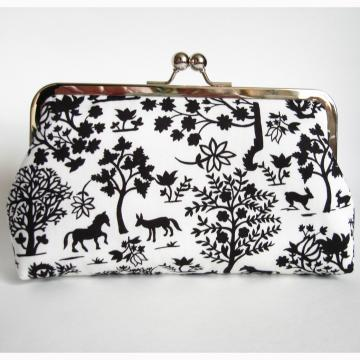 Silk Lined Black and White Forest Silhouette Kisslock Frame Clutch