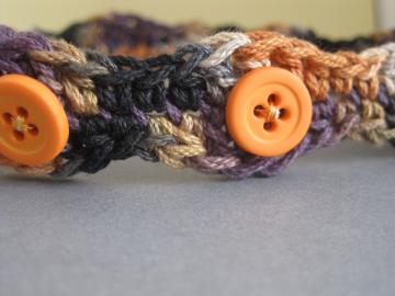 orange buttoned crochet choker
