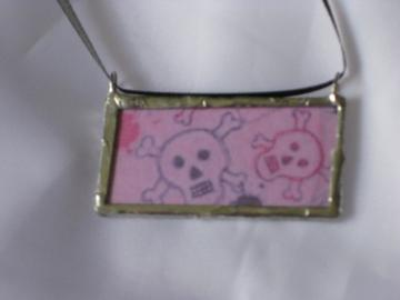 Double Glass Slide Pendant  -Pink Skulls