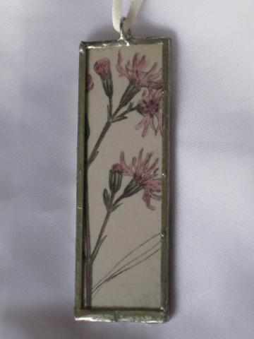 Double Glass Slide Pendant  -Pink Floral/Dragonfly