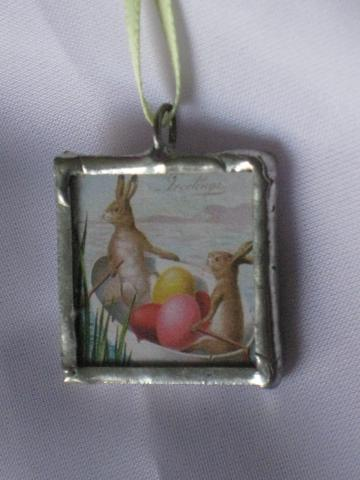 Double Glass Slide Pendant  - Vintage Easter Bunnies