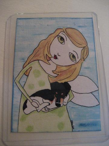 Sarah's Angel ACEO print from Original Angel and Terrier dog