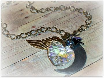 RESERVED - Sailor Saturn's Pure Heart Crystal - Necklace - Sailor Moon Collection - OOAK