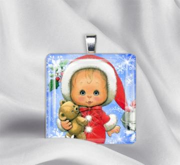 My Teddy and Me Glass Tile Pendant Necklace