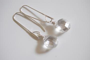 AAA grade Crystal Quartz and sterling silver long drop earrings