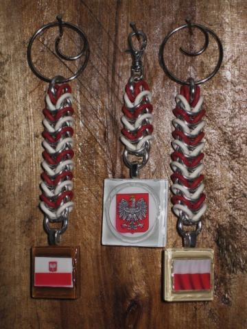 Polish Flag and Coat of Arms Key Chain