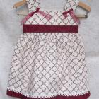 Cream and Dark Red Ribbon Tie Jumper or Sundress (size 1)