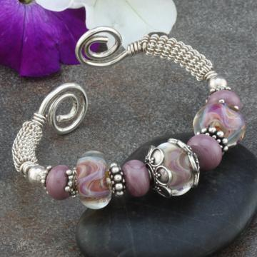 Purple Lampwork, Bali and Sterling Silver Wire Wrapped Cuff Bracelet