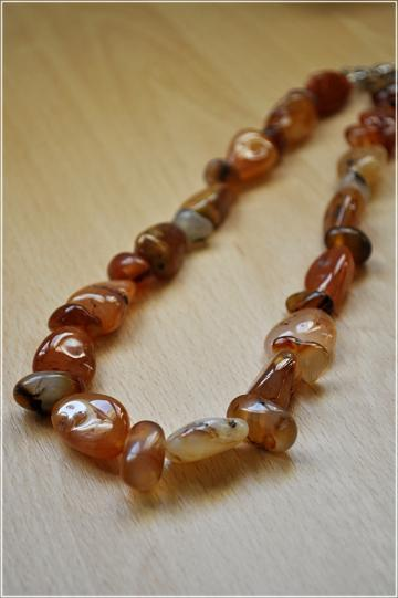 Stunning Orange Fire Agate Gemstone Necklace