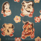 Japanese Design Fabric – Noh / Folk Characters