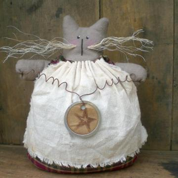 Primitive Shelf Sitter Kitty Cat Doll Taluleh