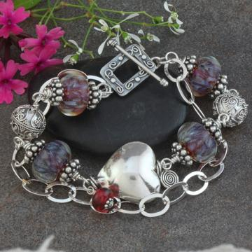 Lampwork Bead, Sterling Silver and Heart Focal Double Strand Artisan Bracelet