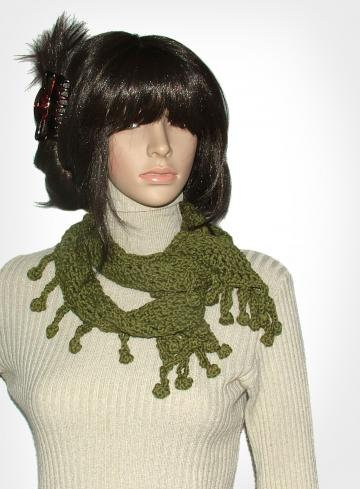 Olive Green Cotton Bamboo Crochet scarf