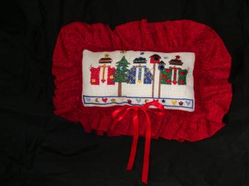 Pillow, Christmas, holiday,red, snowman, linen, beaded