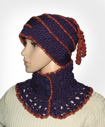 Purple Indigo Jasper Orange Crochet Beanie/Cowl SET -