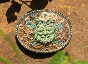 Leaf Man Belt Buckle by CircleStar Mosaics on Zibbet