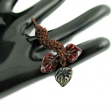 Wire crochet and lampwork pendant - Fall leaves