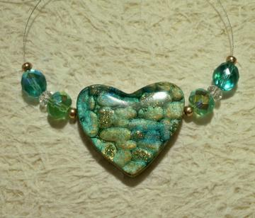 Handmade heart focal bead pendant teal blue green gold polymer clay
