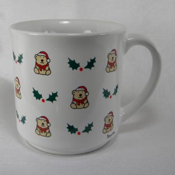 Sandra Boynton Coffee Mug - Bear and Holly Design - Holiday Vintage 1980s - Childs Milk Cup