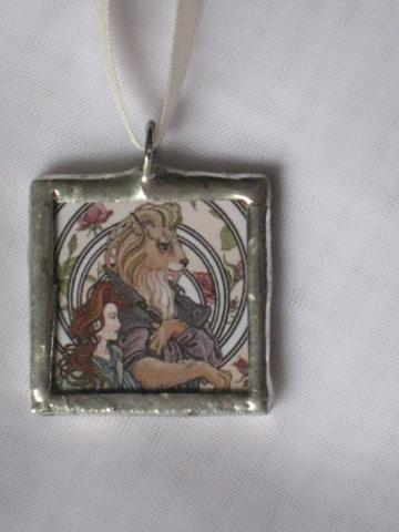 Double Glass Slide Pendant  - Beauty and The Beast/Butterflies