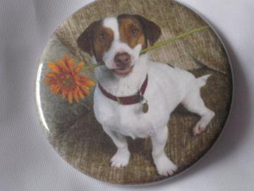 Pin Back Button -  Dog with Flower