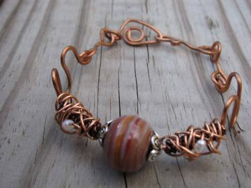 Copper Organic shaped cuff with Turkish Focal Bead