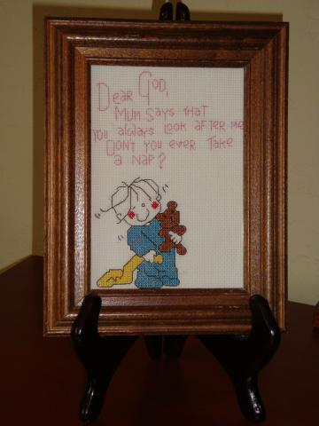 Picture, child, prayer, small, framed,vintage