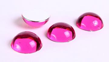 15mm 4pc pink Acrylic Round Cabochon with Silver Foil (135)