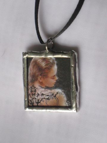 Double Glass Slide Pendant  - Lady in Black / Tattoos