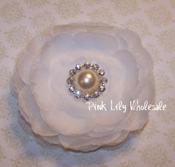 White Camellia Flower with Pearl and Rhinestone Center