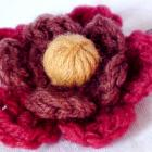 Hair bobby pin Crochet yarn flower autumn colours by Orchid's Orchard