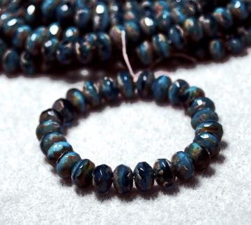 Marbled Blue Gemstones- thru cut Czech glass beads