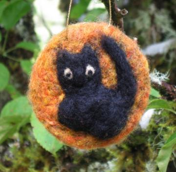 Little Black Cat in Front of a Halloween Harvest Moon. Needle Felted wool ornament
