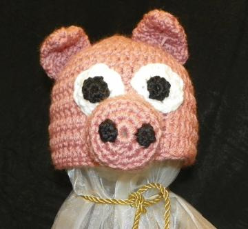 Little Piggy Baby Beanie Hat Crochet Pattern Size 6months to 24 months