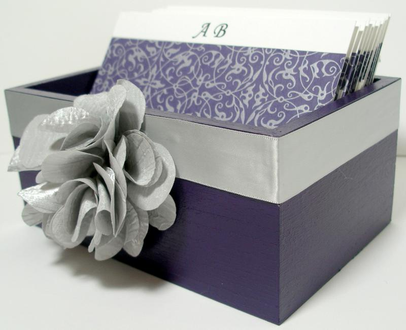 Wedding Guest Box Eggplant Silver Theme custom colors available