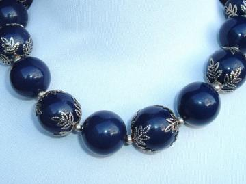 Big Blue Plastic Beads Vintage Necklace With Metal Leaf Trim