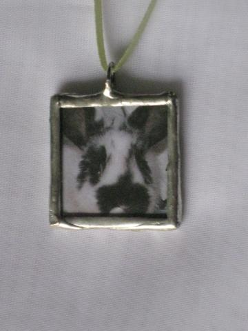 Double Glass Slide Pendant  - Bunnies