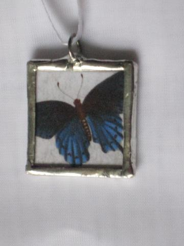 Double Glass Slide Pendant  -  Rossetti Beauty / Butterfly