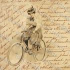 Victorian woman on Vintage BICYCLE French script antique postcard digital scan