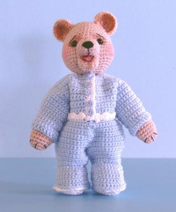 CROCHET PATTERN - Jody, Open-Mouth Bear in Pajamas - PDF File