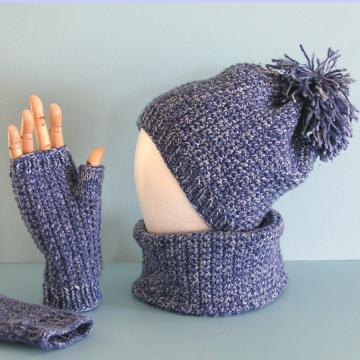 Crochet Pattern Book, Crochet and Knit Combo Pattern - Unisex Hat, Fingerless Gloves, Neck Warmer - PDF