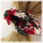 Christmas Flower Crocheted Hair Scrunchie