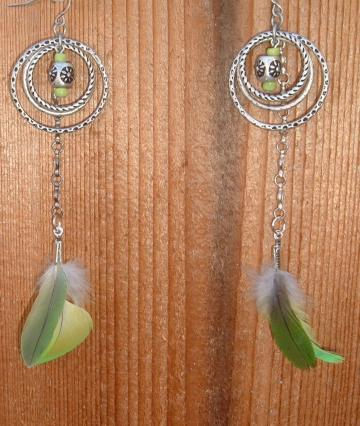 Green Parrot Feathers Recycled Earrings