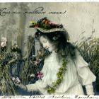 Easter DIGITAL Scan Victorian Girl in Bonnet at grassey Fence Flower Gardland Antique French Postcard