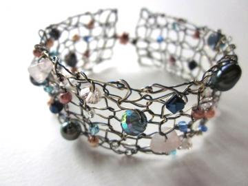 Blue and Gold Designer Knit Copper Wire Bracelet