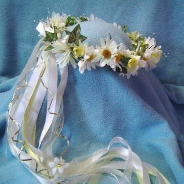 Polly Daisy Crown Silk flowers -Wedding / Renaissance